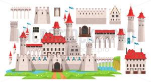 Medieval castle diy constructor for kids - Vector illustrations for everyone | Microstocker.Pro