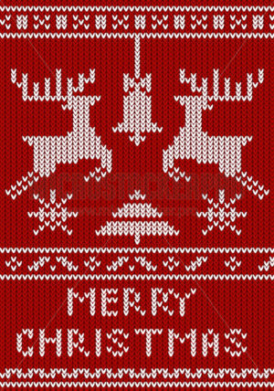 Merry christmas greeting card with knitted decorative elements - Vector illustrations for everyone | Microstocker.Pro