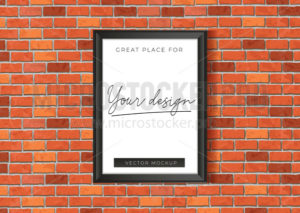 Mockup template with red brick wall poster - Vector illustrations for everyone | Microstocker.Pro