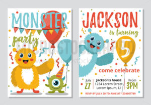 Monster party invitation template for kids - Vector illustrations for everyone | Microstocker.Pro