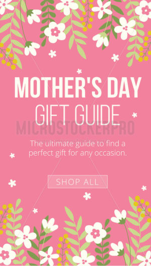 Mothers day gift guide banner on pink backdrop - Vector illustrations for everyone | Microstocker.Pro
