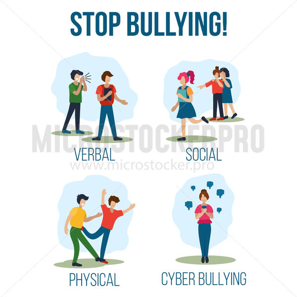 Motivational call to stop bullying on people - Vector illustrations for everyone   Microstocker.Pro