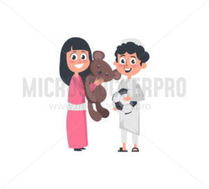 Muslim arab boy and girl playing together - Vector illustrations for everyone | Microstocker.Pro