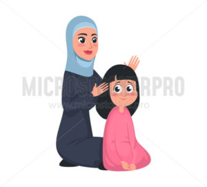 Muslim arab girl and mother brushing hair - Vector illustrations for everyone | Microstocker.Pro