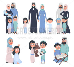 Muslim family set isolated on white background - Vector illustrations for everyone | Microstocker.Pro