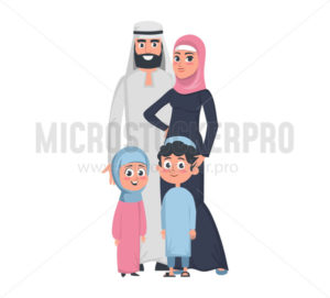 Muslim parents with children daughter and son - Vector illustrations for everyone | Microstocker.Pro