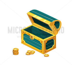 Opened green treasure chest icon on white background - Vector illustrations for everyone | Microstocker.Pro