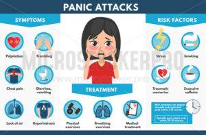 Panic attacks symptoms treatment and risk factors - Vector illustrations for everyone | Microstocker.Pro