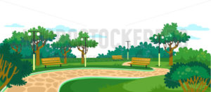Park with wooden benches, lawn and green trees - Vector illustrations for everyone | Microstocker.Pro