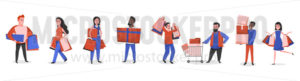 People with shopping bags and packages with purchases - Vector illustrations for everyone | Microstocker.Pro