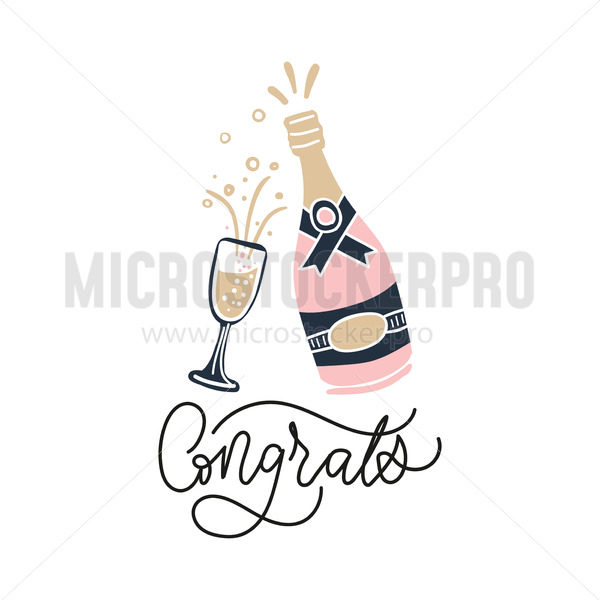 Pink bottle of champagne and glass filled with liquid - Vector illustrations for everyone | Microstocker.Pro