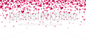 Pink confetti hearts falling background in flat style - Vector illustrations for everyone | Microstocker.Pro