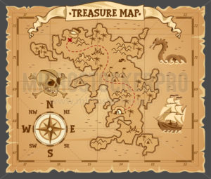 Pirate treasure map on ruined old parchment - Vector illustrations for everyone | Microstocker.Pro