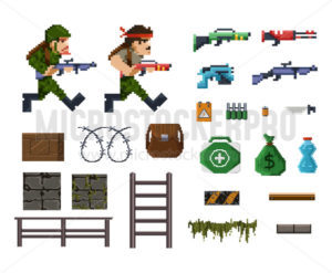 Pixel art objects and characters for shooter game - Vector illustrations for everyone | Microstocker.Pro