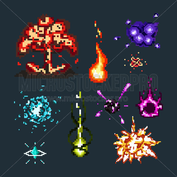 Pixel art of magical explosions and effects set - Vector illustrations for everyone | Microstocker.Pro