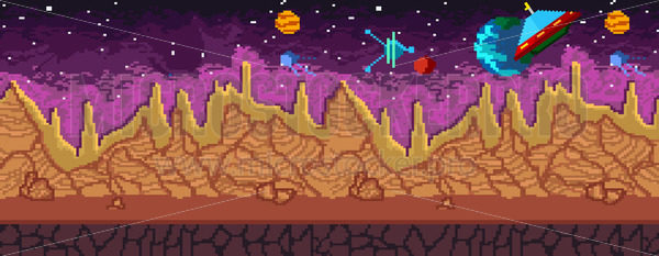 Pixel art seamless background with ufo planets and landscape - Vector illustrations for everyone | Microstocker.Pro