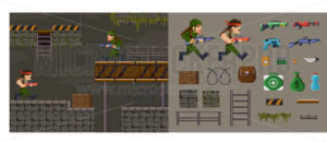 Pixel military shooter character game diy constructor - Vector illustrations for everyone   Microstocker.Pro