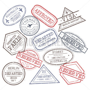 Post stamps signs collection on white background - Vector illustrations for everyone | Microstocker.Pro