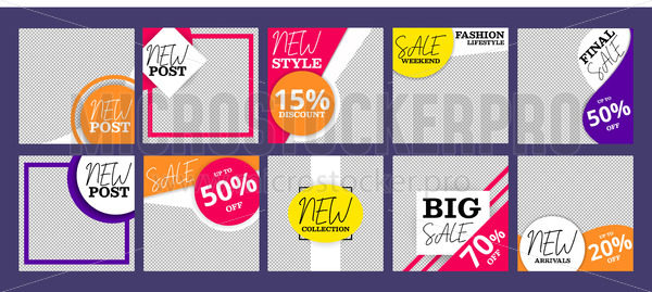 Post templates collection for social networks - Vector illustrations for everyone | Microstocker.Pro