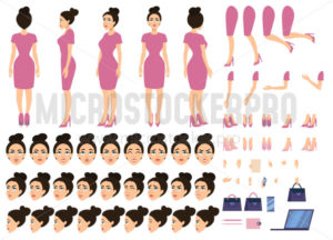 Pretty girl boss in pink dress constructor set - Vector illustrations for everyone | Microstocker.Pro