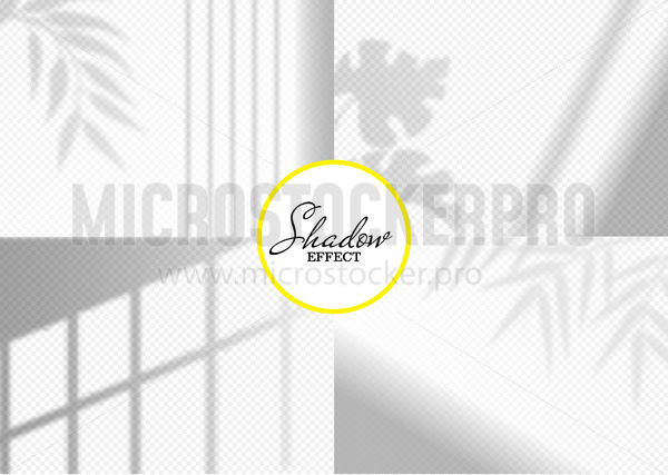 Realistic shadow effect overlays with leaves set - Vector illustrations for everyone | Microstocker.Pro