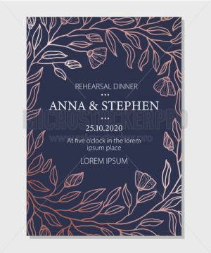Rehearsal dinner elegant invitation with flowers - Vector illustrations for everyone | Microstocker.Pro