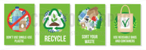 Responsible consumption posters collection - Vector illustrations for everyone | Microstocker.Pro