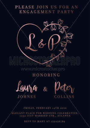 Rose gold wedding invitation design template - Vector illustrations for everyone | Microstocker.Pro