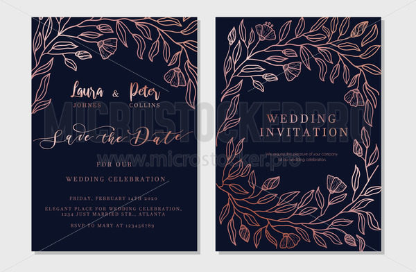 Save the date vertical decorated invitation - Vector illustrations for everyone | Microstocker.Pro