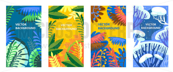 Seasonal backgrounds with trees and leaves set - Vector illustrations for everyone   Microstocker.Pro