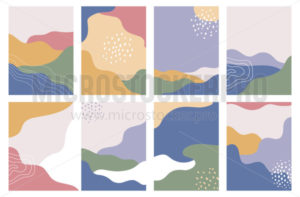 Set of abstract geometric backgrounds in pastel colours - Vector illustrations for everyone | Microstocker.Pro