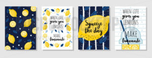 Set of cards with juicy lemons and quotes - Vector illustrations for everyone | Microstocker.Pro