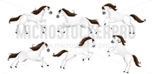 Set of cartoon horses in different poses - Vector illustrations for everyone | Microstocker.Pro