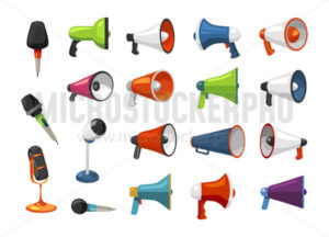 Set of colourful microphones and loudspeakers - Vector illustrations for everyone | Microstocker.Pro