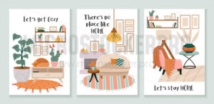 Set of cozy cards with interiors and decorations - Vector illustrations for everyone | Microstocker.Pro