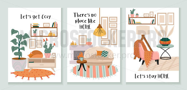 Set of cozy cards with interiors and decorations - Vector illustrations for everyone   Microstocker.Pro