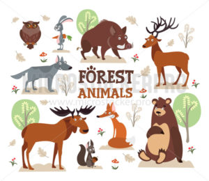 Set of cute animals and nature environment - Vector illustrations for everyone | Microstocker.Pro
