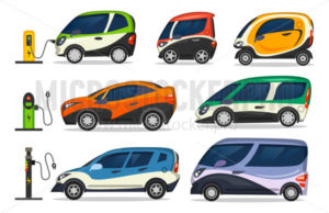 Set of different colourful electric cars on charger - Vector illustrations for everyone | Microstocker.Pro