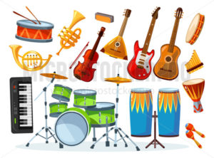 Set of different colourful musical instrument - Vector illustrations for everyone | Microstocker.Pro
