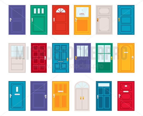Set of different doors in cartoon flat style - Vector illustrations for everyone | Microstocker.Pro