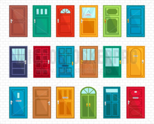 Set of different doors on simple brickwall - Vector illustrations for everyone | Microstocker.Pro
