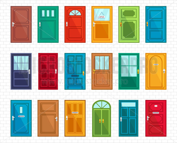 Set of different doors on simple brickwall - Vector illustrations for everyone   Microstocker.Pro