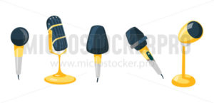 Set of different microphones with gold design - Vector illustrations for everyone | Microstocker.Pro
