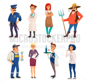 Set of different occupations and labor day - Vector illustrations for everyone | Microstocker.Pro
