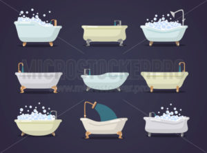 Set of different types of cute bath tubes - Vector illustrations for everyone | Microstocker.Pro