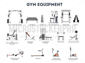 Set of gym equipment on white background - Vector illustrations for everyone | Microstocker.Pro