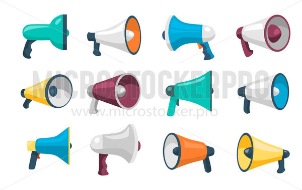 Set of loudspeakers for public speaking - Vector illustrations for everyone | Microstocker.Pro