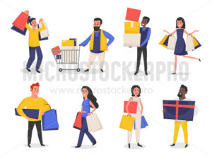 Set of people with shopping bags and purchases - Vector illustrations for everyone | Microstocker.Pro