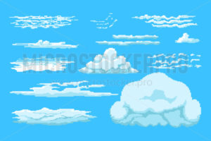 Set of pixel clouds in different size and shape - Vector illustrations for everyone | Microstocker.Pro