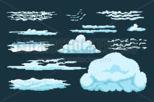Set of pixel clouds in various shapes and sizes - Vector illustrations for everyone | Microstocker.Pro